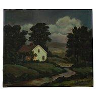 American School Painting, Rural Scene, E. Barker, 1948