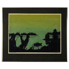 "Serigraph by Brent Overby, ""Shadows of Tranquility"" Circa 1979"
