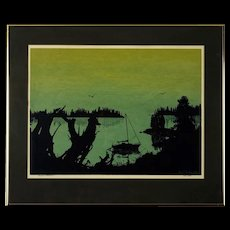 """Serigraph by Brent Overby, """"Shadows of Tranquility"""" Circa 1979"""