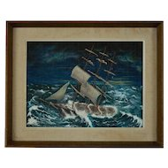 "American School Folk Art Nautical Ship Painting, Oil Painting ""Revolving Light"" by Durkee"