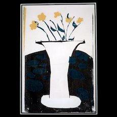 Multimedia Silkscreen, Vase with Flowers, signed Sue Rowe