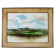 Mid Century San Francisco Bay Area Landscape Watercolor, signed Tatsuno