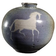 Signed 20th Century Ceramic Vase Featuring an Equestrian Motif