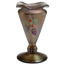 Signed Circa 1980 Art Nouveaux Manner Silver Oxide Goblet Vase