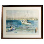 Mid Century California Watercolor, signed Maris