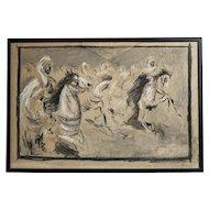 19th century Arab Horsemen Tempera and Ink Drawing