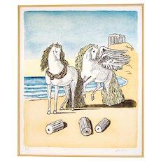 """Original Lithograph """"Horses on a Beach"""", by Giorgio de Chirico"""