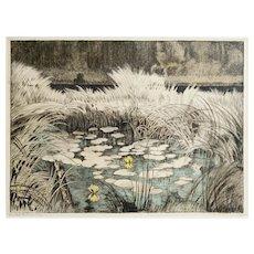 Original Vintage Polychrome Etching, Lily Pond