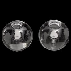 Mid Century Pair of Orrefors Votive Candle Holders