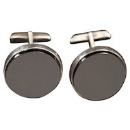 Mid Century Signed Mexican Silver and Black Onyx Cufflinks