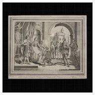 "Antique engraving, ""Columbus presenting an Account of his Voyage to the King and Queen of Spain"". Wale delin. C.Grignion Sculp."