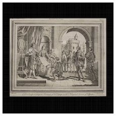 """Antique engraving, """"Columbus presenting an Account of his Voyage to the King and Queen of Spain"""". Wale delin. C.Grignion Sculp."""