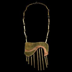 "Vintage 1970's Artisan Necklace, signed ""PEC"""