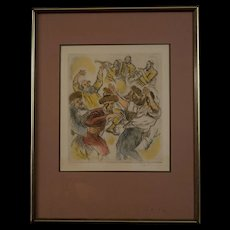 """Mid-Century Lithograph by Ira Moskowitz , """"Hassidic Dance"""""""