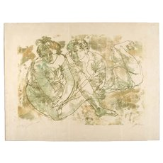 Signed Mid-Century Silkscreen, Two  Lovers in Repose
