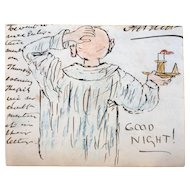 "Signed Original Watercolor and Ink Drawing, ""Good Night"""
