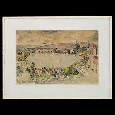 Vintage Watercolor by Lee Marion Splivalo (1917-1963)