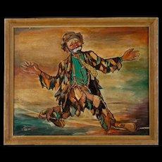 Mid Century Clown Painting by Thelma Hansen