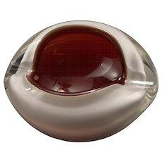 Mid Century Murano Encased Glass Kidney Bean Bowl