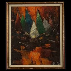 Signed Mid Century Abstract Expressionist Painting