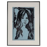 "Original Linoleum Cut Print by Claudine Paluzzi-Kelsey, ""Second Study, Proof #11, 1970"""