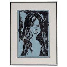 "Original Linoleum Cut Print by Claudine Paluzzi-Kelsey, ""Second Study, Proof #11, 1970"""