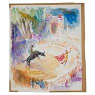 Mid Century Watercolor by David Landis (1918-1983), Bullfight