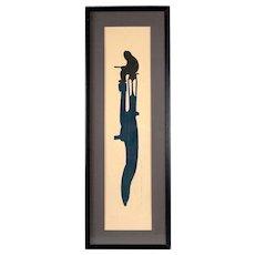 "Circa 1970's Linoleum Print, ""Late Afternoon Fisherman"""