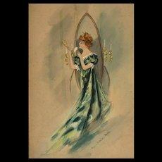 Original WatercolorFashion Illustration by Virginia Battaile Battle Betts  (1880 - 1942)
