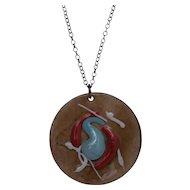 Mid Century Modernist Enamel on Copper Medallion Necklace, signed.