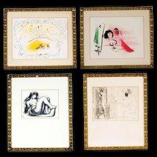 Four Vitage Collotype Prints, Picasso, Chagall. Circa 1970's