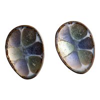 Vintage Hogan Bolas Iridescent Enamel Earrings