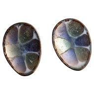 Vintage Hogan Bolas Iridescent Enamel Earrings