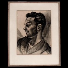 Original Bay Area Figurative Charcoal Portrait, Mid Century