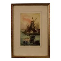 Original Mezzotint Engraving, Windmills