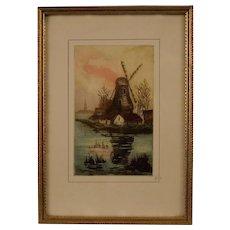 Original Mezzotint Engraving, Windmills