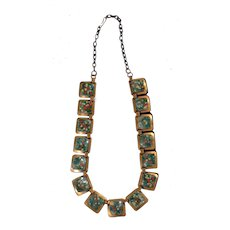 Mid Century Matisse Copper and Enamel Modernist Necklace, circa 1950's