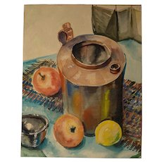 Arts and Crafts Modernist Watercolor, circa 1940's -1950's