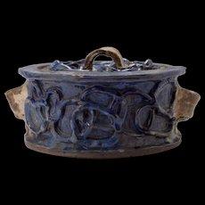 Spectacular Mid Century California Studio Glazed Earthen Lidded Bowl
