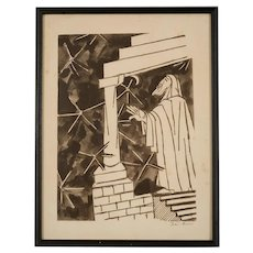 "Mid Century Signed Etching by Ben Zion, ""Prophet"""