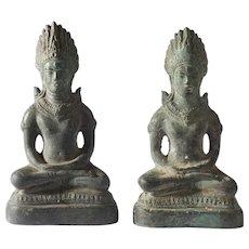 Pair of Khmer Empire Bronze Buddha Statues Southeast Asian Cambodian Thai