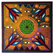 Vintage Huichol Yarn Painting by Rodolfo Diaz Benites