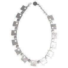 Modernist Cast Silver Necklace, Bauhaus Manner