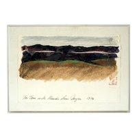 Original Watercolor and Pastel Drawing by Joyce Brown Clark (American, 1916-2010)