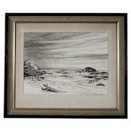 Vintage Pencil Drawing, Mendocino Coast, signed Barnes