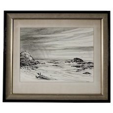 Vintage Pencil Drawing, Mendocino Coast, signed Barnes