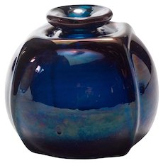 "Vintage American Studio Art Glass Vase, signed ""Buerkel 70"""