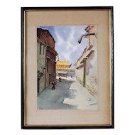 Mid Century Watercolor, Tibetan Monastery
