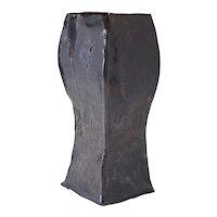 20th Century Salt-Fired Brutalist Ceramic Vase, signed AB