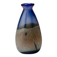 David Tate Silver Oxide Polychrome Art Glass Vase, 1991